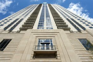 Dramatic view of exterior elevation of Market Square Tower Apartment Building in Houston, Texas
