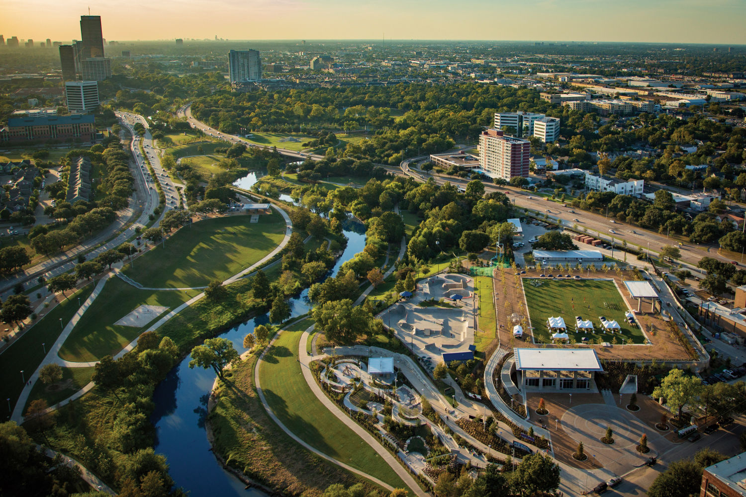 Aerial view of Buffalo Bayou Park in the inner loop of Houston