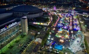 Aerial view of carnival outside of Houston Livestock and Rodeo in NRG Stadium
