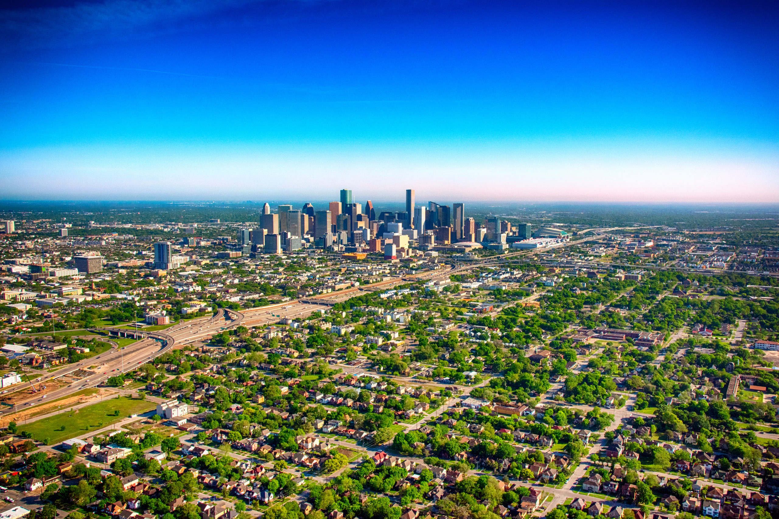 Aerial of best Houston school districts