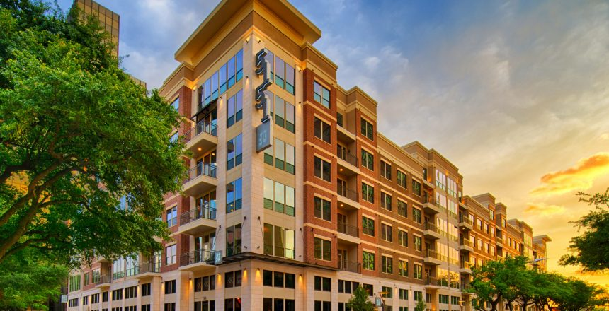 Exterior of building at Alexan 5151 luxury galleria apartments